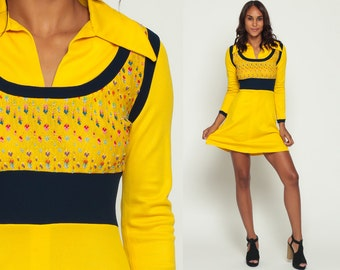 Babydoll Dress 70s Mod Mini Boho EMPIRE Waist Bohemian 1970s Bright Yellow Sweater Vest Vintage Dolly Collar Long Sleeve Blue Small