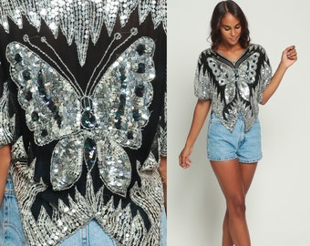 Butterfly Top Sequin Blouse SILVER Metallic Boho 70s Disco Shirt 80s Bohemian Party Glam Trophy 1980s Silk Vintage Cocktail Black Large