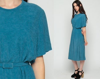 70s Dress TERRY CLOTH Dress Midi Blue Boho BELTED Shift 1970s Vintage Retro Short Sleeve Bohemian Drape Plain Extra Large xl