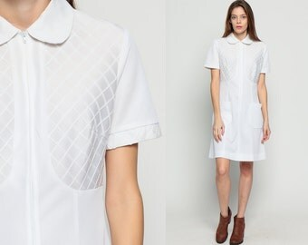 Peter Pan Collar Dress 60s Mini White Babydoll Vintage 1960s MOD Nurse Boho 70s Lolita Short Sleeve Empire Waist Zip Up Pocket Large