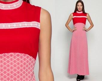 Bohemian Dress 70s Mod Maxi Boho Geometric Print LACE TRIM 60s Empire Waist Red Sleeveless Vintage Long High Neck White Large