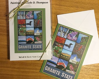 Set of 4 Blank Note Cards, Granite State