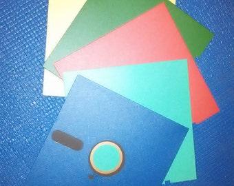 "100 vintage 5.25"" Floppy Disks (Blue, Red, Green, Aqua, Yellow)"