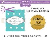 DIY printable lip balm labels editable Turquoise polka dot baby shower favors or bridal or wedding PDF Digital File (No.26)
