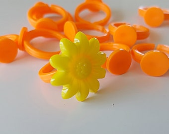 Children's Ring Blank Orange Acrylic (10)