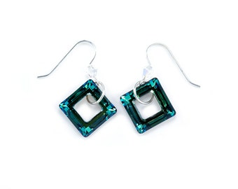 Square Frame Earrings made with Swarovski Elements