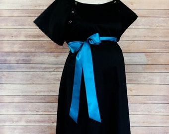 Black Maternity Hospital Delivery Gown -Super Soft -Perfect Snaps for Breastfeeding, Skin to Skin, and Epidural