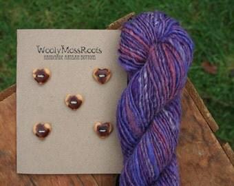 SALE! 5 Red Cedar Heart Buttons- Reclaimed Western Red Cedar Wood- Handmade Wooden Buttons- Eco Craft Supplies