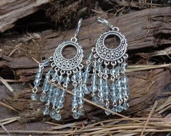 Pale Blue Chandelier Earrings - Handcrafted - 7177
