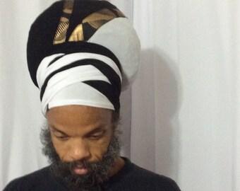 Men Black & White Tam Wrap - Ready Wraps- Stretch Turban- Stretch Wraps-Men- Dread Locs Men- Choose a Length