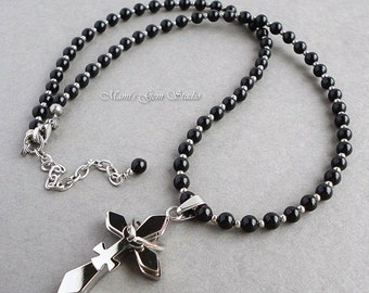 Female Symbol Cross Pendant Necklace with Black Onyx Gemstone, Stainless Steel, Handmade