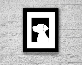 Modern Labrador Retriever Silhouette Art Print, Printable Art, Instant Download, Dog Art Print