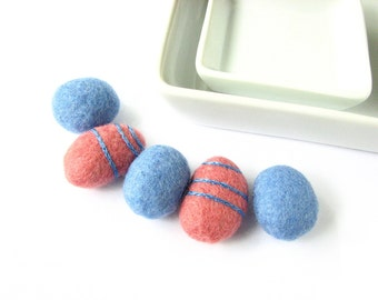 Flat blue and salmon felted wool beads with circle ornaments. Perfect for bracelet, necklace, textile decoration, wool ornaments, felt beads