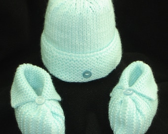 Baby Hat and Booties - Aqua