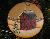 Saltbox Christmas Ornament Hand Painted Wood