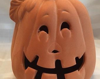 "Vintage, Pumpkin, Jack o Lantern, Terra cotta earthenware, 5.5"" x 4"" x 4"","