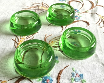 Vintage 1950s Hazel Atlas Green Glass Caster Cups / Protects Floor Rugs Carpet From Furniture Legs