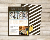 Where the Wild Things Are Birthday Party Invitation with optional Thank You card bonus double sided design - Print Your Own