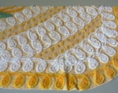 Sunshine Yellow Plush Floral Vintage Chenille Fabric 17.5x27 Corner Pc