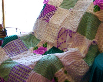 LAVENDER FIELDS FOREVER ~ a Made-to-Order Vintage Cotton Chenille Patchwork Quilt