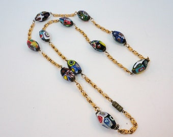 50s Millefiori Italian oblong beads necklace