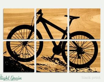 Large Mountain Bike Print on Birch Wood Panels - 24x36 Custom Made