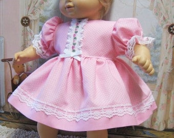 Pastel Pink Pin-Dot Dress and Panties for Bitty Baby Doll
