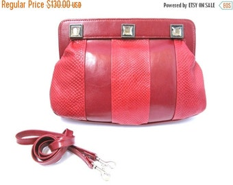 FLASH SALE 25% OFF Women's Leather Purse, Evening Leather Purse, Large Leather Purse, Leather Clutch - in Cherry Red  (No.1071)