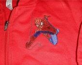 3T red Rabbit Skin hoodie sweatshirt with spiderman machine embroidered