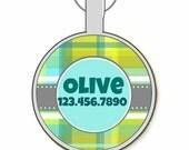 Green Plaid Custom Personalized Dog ID Pet Tag Custom Pet Tag You Choose Tag Size & Colors