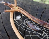 Crystal wand - dream catcher - talking stick - sacred tool for ritual, meditation, ceremony & healing. Smoky quartz, Boulder Opal, Agate