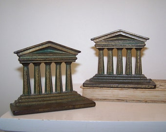 Parthenon Bookends, Greek Temple, Architecture Bookend, Cast Metal, Library Decor,
