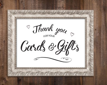 Instant Download - Cards and Gifts Sign - Wedding Sign - Printable file - Black White