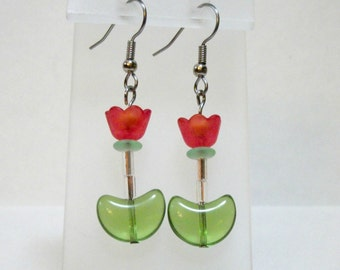 Spring tulip flower earrings