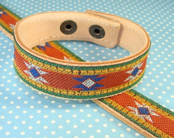 6 Leather Bracelets Rust Aztec Ribbon Cuffs to Stud or Decorate or Wear as is - 5/8 Inch Wide Adjustable with Snaps Jewelry Supplies