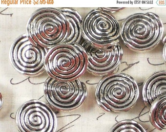 SALE 12 Spiral Beads 12mm Flat Round Antiqued Silver Tone (P303)