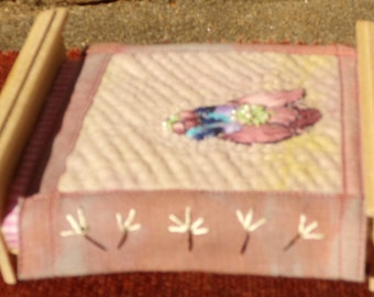 Miniature Embroidered Applique Doll House Quilt scale
