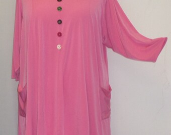 Coco and Juan,  Lagenlook,  Plus Size Top, Pink Lemonade Traveler Knit Trapeze Tunic,  Size 1 (fits 1X/2X)  Bust 50 inches
