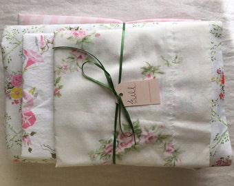 Vintage remixed full sheet set in pink gingham and flowers / full flat sheet / full fitted sheet / vintage pillowcases