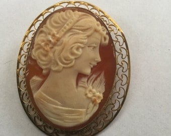 Vintage Victorian Revival Carved Cameo Woman Pin Pendant 1950s