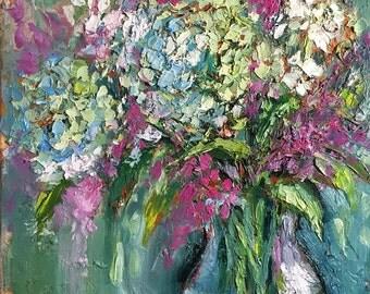 Original Oil Painting, Impressionist, palette knife painting, floral art ,pastel, blue, romantic art