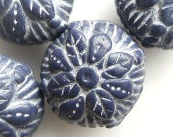Handmade Floral Design Beads in Slate Blue and White- Set of Four