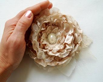 Taupe Champagne Cream Bridal Hair Satin Flower, Vintage Wedding, Hair Accessories, Bridesmaids Headpiece, Bridal Hair Clip, Corsage, Sash