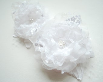 White Bridal Organza Hair Flowers, White Weddings Hair Accessories, White Bridal Hair Clip, Bridesmaids Headpieces, Flower Girls Clip