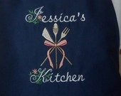 Kitchen Utensils Apron Personalized on Navy Blue