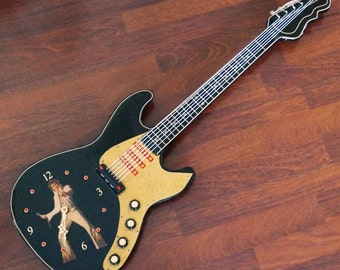 Vintage Elvis Presley Guitar Wall Clock Black Lacquer Resin Iridescent Gold Sparkles 1970s