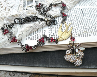 cherry assemblage necklace romantic recycled vintage jewelry fruit pin bird garden cottage chic red black