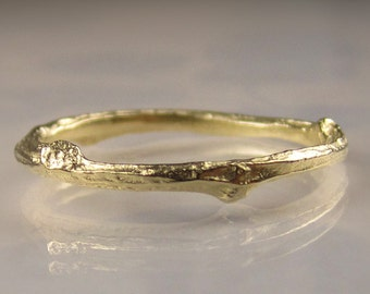 10k Gold Twig Band, Gold Wedding Band, 10k Yellow Gold Branch Ring, Gold Twig Wedding Band