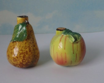 Vintage Ceramic Apple and Pear Bottles.