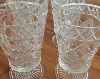 Cut Crystal Cut Pedestal Glassware